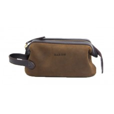 Baron Wash Bag Green Leder