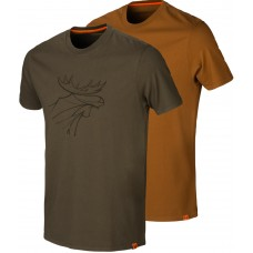 Härkila Graphic T-Shirt 2er-pack Willow green/Rustique clay