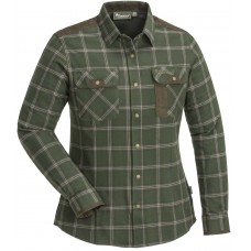 Pinewood Prestwick Exclusiv Damen Bluse Mossgreen/Darkbrown